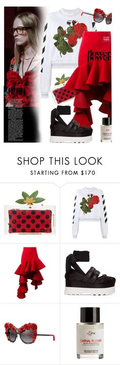 """""""Scent of flowers"""" by laste-co ❤ liked on Polyvore featuring Charlotte Olympia, Off-White, Jacquemus, Miu Miu, Dolce&Gabbana and Frédéric Malle"""
