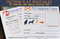 FREE Pretend Play Printables for Animals and Pet Adoption