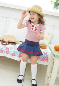 Vintage Inspired Baby & Children's Clothes Vindie Baby Girl Red Stipes Sailor Dress