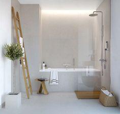 Bathroom. towels on a ladder...