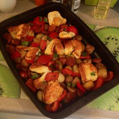 We had a really simple tray bake style meal for this evenings dinner. I love cooking dishes like this- Throw the ingredients in and let the oven work wonders on them! Real Food Recipes, Vegetarian Recipes, Cooking Recipes, Healthy Recipes, Healthy Meals, Cooking Dishes, Halloumi, Evening Meals, Veggie Dishes