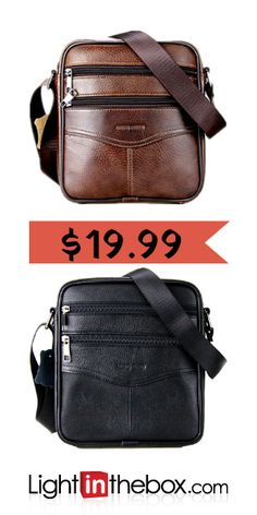 fa87d75aec   19.99  Men s Bags Cowhide Crossbody Bag Zipper Black   Coffee