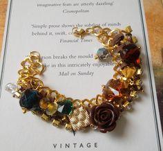 Brown and Golden Bracelet with Swarovski Crystal by SwedishShop, $17.90