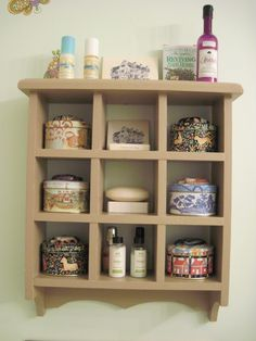 I am crazy about shelves. This one is in my master bathroom. It hold some of my treasures and reminders of those I love.