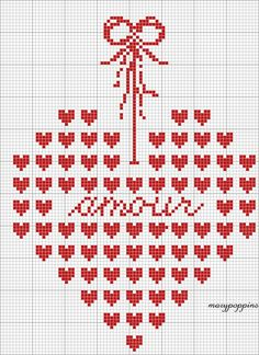 Embroidery, cross stitch pattern, heart, free chart in threa Cross Stitch Heart, Cross Stitch Samplers, Cross Stitching, Cross Stitch Embroidery, Embroidery Patterns, Cross Stitch Designs, Cross Stitch Patterns, Borboleta Crochet, Stitch Crochet