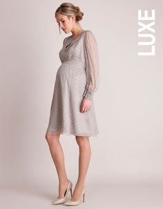this luxurious polka dot maternity cocktail dress in pure champagne colored silk is perfect for the holiday season - Christmas Maternity Dresses