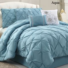 Lily Solid Color Pintuck Comforter Bed Set