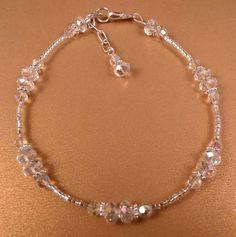 Crystal Ankle Bracelet Crystal Anklet Beaded Anklet Beaded Jewelry Crystal Jewelry Silver Jewelry - New Sites Diy Bracelets With Names, Cute Bracelets, Ankle Bracelets, Jewelry Bracelets, Necklaces, White Gold Jewelry, Sterling Silver Jewelry, Silver Earrings, Beaded Anklets