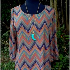 Taupe Aztec Print Top @ Almost Pink. Spartanburg, SC