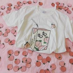 Peach Juice Aesthetic T-Shirt Women Girls Tee