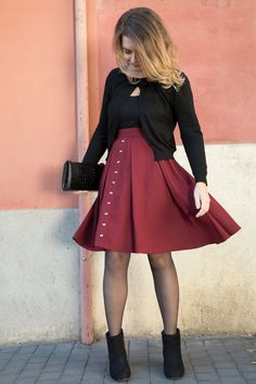 High waist skater skirt designed and made in Barcelona. With its shinny color, the Mona skirt is available from 36 to Waist Skirt, High Waisted Skirt, Gaston, Burgundy Color, Skater Skirt, Barcelona, Skirts, How To Make, Beautiful