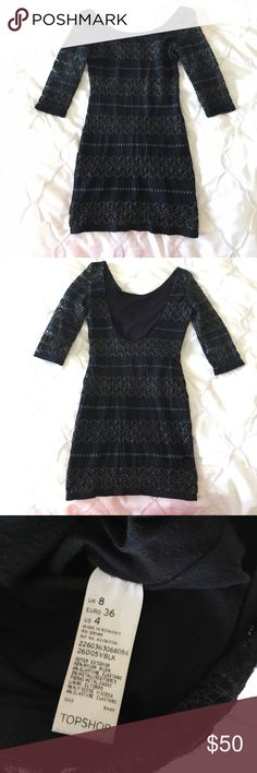 Black and gold boydcon lace dress Topshop, black and gold lace w soft black liner underneath, 3/4 sleeves and scoop back, lands at mid-thigh, worn once for New Years Eve with high-knee boots, size 4 Topshop Dresses Mini
