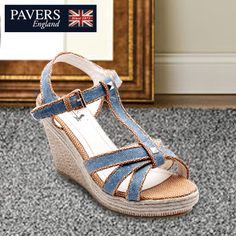 Denimize your #outfits with these cool #blue #wedges, a perfect choice for your lazy #brunches.  Avail them only at a #PaversEngland store near you