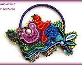 Soutache pendant necklace brooch broach bracelet unusual and colorful  - Pieces of a Dream OOAK