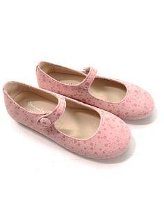 Manuela de Juan Blush Pink Spotted Suede Mary Jane Flats Shoes