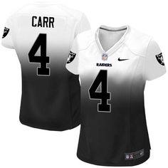 Women's Nike Oakland Raiders #4 Derek Carr Game White/Black Fadeaway NFL Jersey