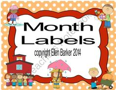 Month Labels from Miss Barker's Musical Materials on TeachersNotebook.com -  (35 pages)  - Cute kids full page and small labels for each month with 2 background styles to help you get your classroom materials clearly marked! For the Classroom or music teacher!