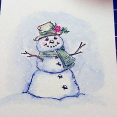 Art Impressions Rubber Stamps: Wonderful Watercolor.  Handmade card with snowman.  Winter, Christmas