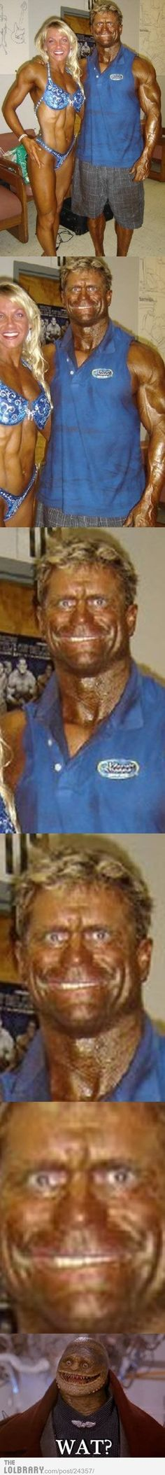 The tanning is to highlight muscle definition. This went too far.