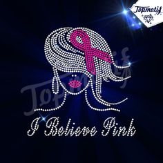 Bling hot fix motif afro girl rhinestone breat cancer awarness iron on transfer