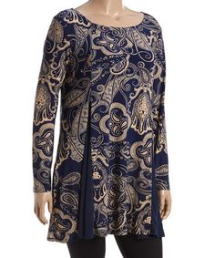 Love this Navy & Gold Paisley Contrast-Panel Tunic - Plus on #zulily! #zulilyfinds