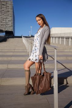 floral dress - knee high tights