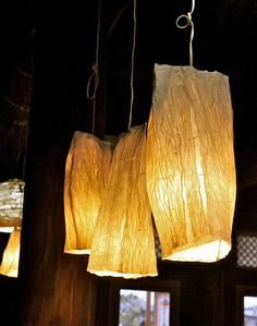 The owner handmade these lamp shades from Hanji (한지), handmade Korean paper.