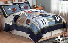 Bed Comforter Sets for Your Sleep Quality : Kids Bedding Comforters Sets Teen Bed Comforters, Boys Comforter Sets, Best Bedding Sets, Bedspreads, Boys Sports Bedding, Football Bedding, Sports Quilts, Black Bed Linen, Bedding Websites