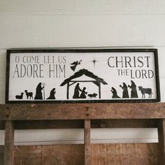 O come let us adore him nativity scene sign by SignsbyAshley Pallet Christmas, Christmas Signs, Diy Christmas Gifts, All Things Christmas, Christmas Makes, Winter Christmas, Christmas Time, Christmas Ideas, Nativity Scenes