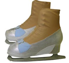 These silver high heel skate boot covers are perfect if you're skating as Cinderella with her Glass Slippers, Elsa to Disney's Frozen, or Wendy in Peter Pan. The boot covers are made of silver metallic fabric, and the bow is blue lycra adorned with Swarovski rhinestones. The bow is sewn onto the boot covers, ensuring the toe pick doesn't catch on fabric. Sparkle even more by selecting the quantity of rhinestones just right for you.