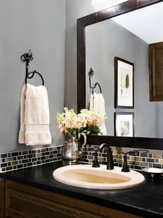 Bathroom ♥ - Follow Me, Suzi M, on Pinterest - Interior Decorator Minneapolis, MN TIP: Install a shirt back splash and frame your mirror for a more completed look.