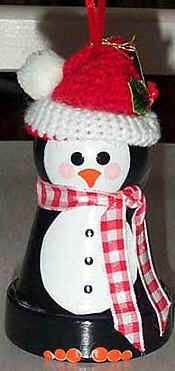 "To make this flower pot snowman ornament use a  2"" flower pot, wooden bead head, felt top hat with holly sprig, broom, ribbon scarf, black satin ribbon hanger with a jingle bell attached, pulled through from the inside for hanging. Coat the entire ornament with a glittery top coat for a sparkly effect before decorating. The arms and broom are optional. It looks nice without them too. Shows up very nice against an evergreen tree."