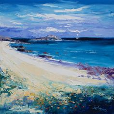 John Lowrie Morrison OBE - Atlantic Moon St Columba's Beach Iona Landscape Artwork, Abstract Landscape, Abstract Art, Southwestern Art, Paintings I Love, Summer Art, Pictures To Paint, Canvas Art, Colourful Art