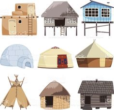 Traditional building house igloo hut cabinet cabin tent bungalow royalty-free stock vector art