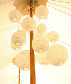 paper lantern chandeliers - hang black and white ones in grouping of 5?