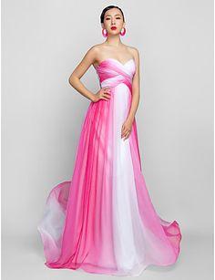 Vestido de Noche Gasa Largo Rosa y Blanco | Vestidos de Fiesta Baratos