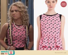 Carrie's pink printed top and black lightning bolt print skirt on The Carrie Diaries. Outfit Details: http://wornontv.net/23885 #TheCarrieDiaries #Sandro