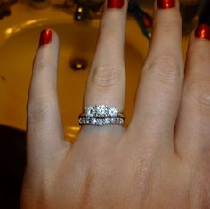 wedding bands for 3 stone engagement rings - Google Search