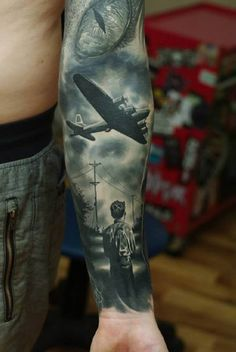 Plane with the eye and the Young Tattoo   #Tattoo, #Tattooed, #Tattoos