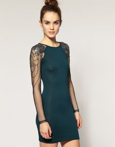 ASOS Warehouse Embellished Mesh Sleeve Dress