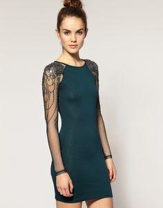 ASOS Warehouse Embellished Mesh Sleeve Dress