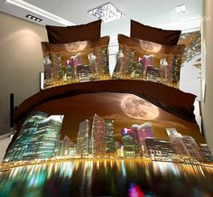 High Quality Modern City 4 Piece Polyester 3D Bedding Sets, buy at there: www.beddinginn.com click more: www.beddinginn.com