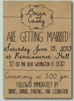 Hand Drawn Style Printed Wedding Invitation - Illustrated style. $5.00, via Etsy.
