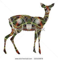 stock photo : Abstract colorful decorative textured young deer. Illustration. Raster version.