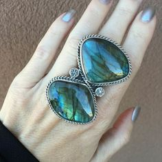 Huge 2 Stone Labradorite Statement Ring | Unique & Stylish Sterling Silver Exotic Stone Jewelry