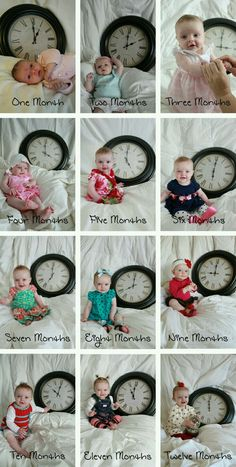 Photograph your baby each month with a clock set to the appropriate hour. It get… – Schwanger Ideen Monthly Baby Photos, Monthly Pictures, Baby Monthly Milestones, Newborn Baby Photos, Baby Poses, Newborn Pictures, Baby Pictures, Milestone Pictures, Poses Photo