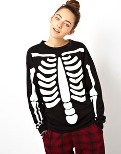 Black Long Sleeve Skeleton Print Sweatshirt - Sheinside.com