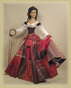 Cheryl Crawford's doll, Gypsy (not a Barbie but what a pretty use of patterns! Barbie Gowns, Barbie Dress, Barbie Clothes, Pretty Dolls, Beautiful Dolls, Doll Clothes Patterns, Clothing Patterns, Manequin, Barbie Princess