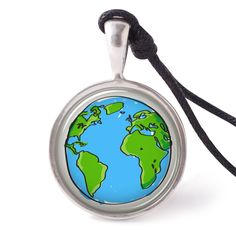 vietguild Hand Drawn Earth Necklace Pendants Pewter Silver