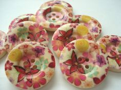 25mm Wood Buttons Multi Pink and Yellow Flower Print Pack of 10 Pink Buttons W2528D by berrynicecrafts on Etsy